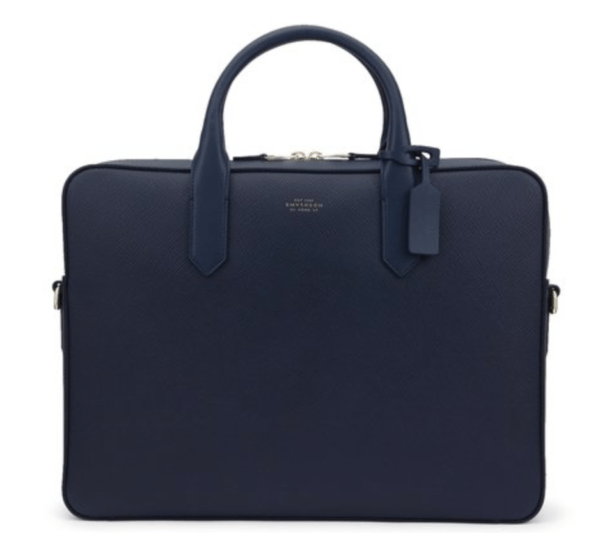 smythson panama slim men navy leather briefcase