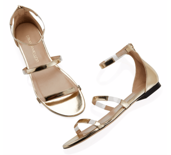 tamara mellon gold flat sandals flatline