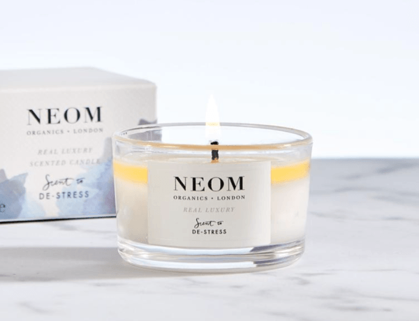 neom real luxury scent to destress travel candles