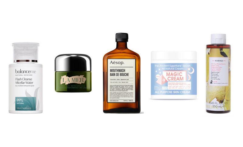 top 5 beauty essentials spring egyptian magic balance me micellar water aesop mouth wash la mer eye cream rosie autograph scrub korres body wash