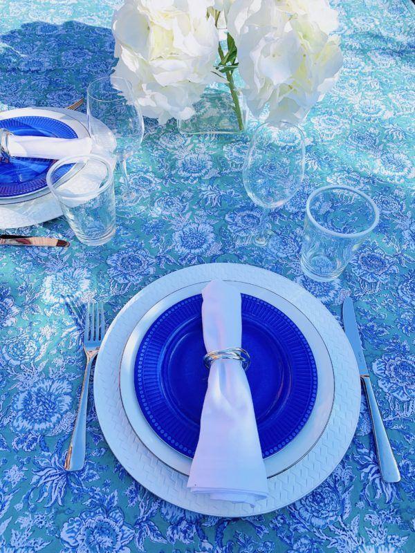 green blue tablescape