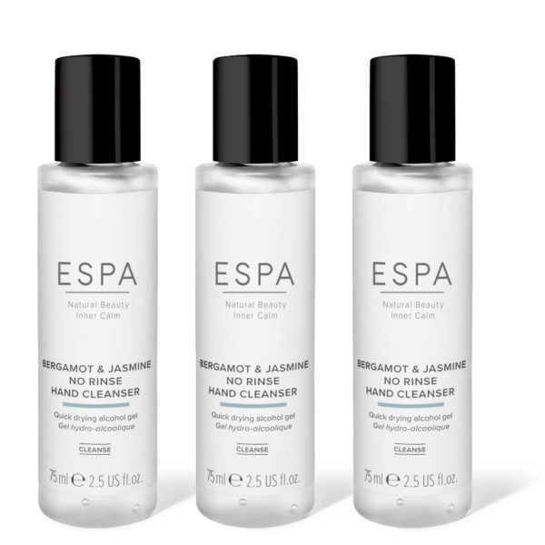 espa luxury hand sanitiser no rinse bergamot and jasmine
