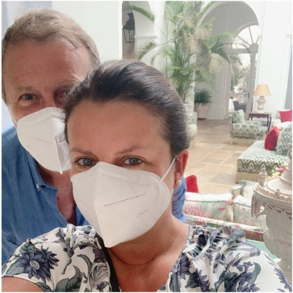 wearing a mask at hotel in spain