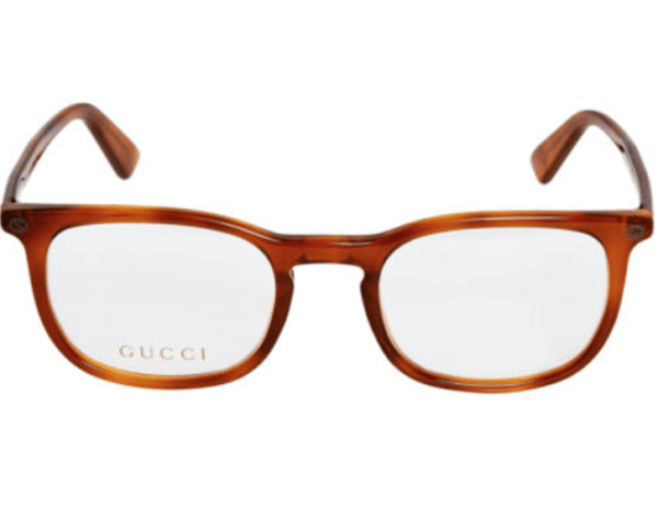 gucci Light Brown Faux Tortoise Shell Rectangular Optical Frames