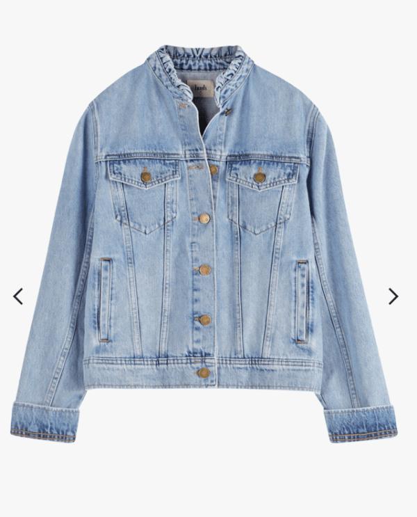 hush allie light denim jacket with collar