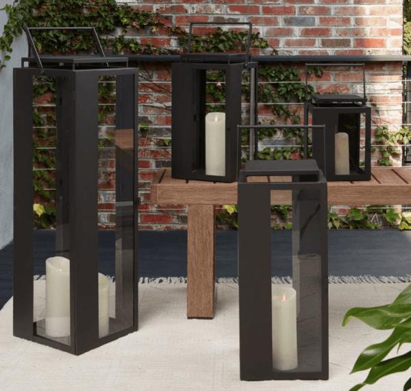 west elm portside outdoor black lanterns