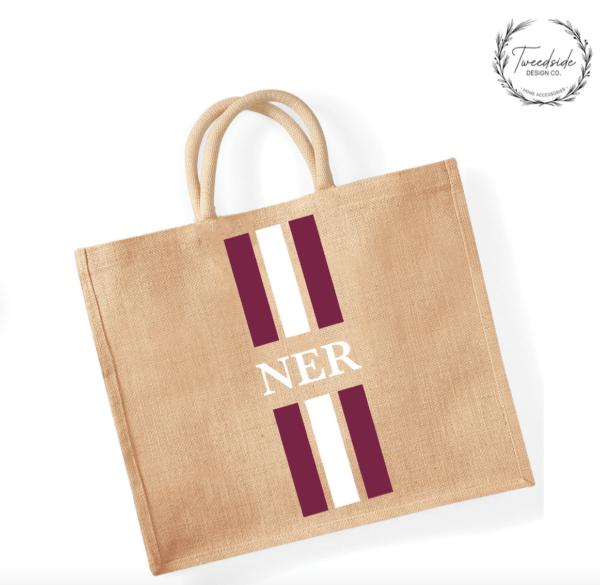 personalised large jute shopping bag beach children