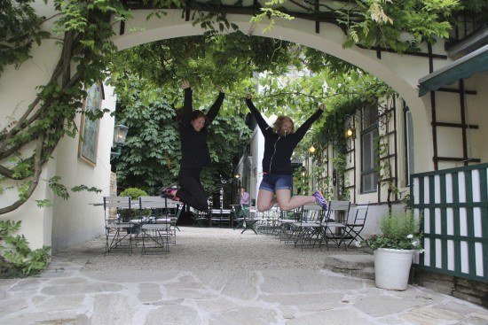 Ashley and Carolyn enjoying some wine happiness in Vienna, Austria