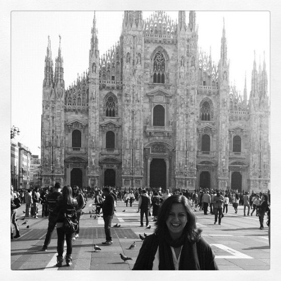 The ultimate tourist photo at Piazza del Duomo, Milan