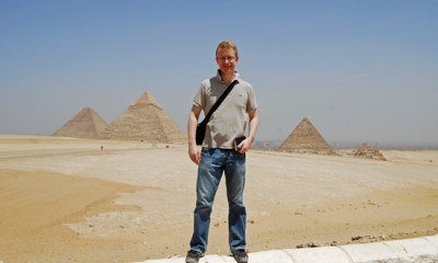 Tom Chesshyre by the pyramids at Giza, Egypt