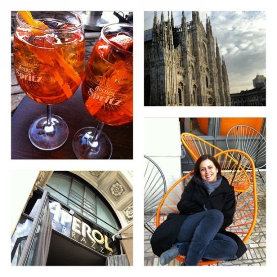 An aperol spritz with a view, in Milan