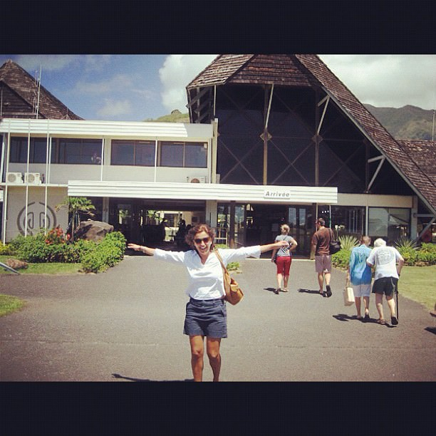 Look at me so happy - I had just landed in Moorea, French Polynesia