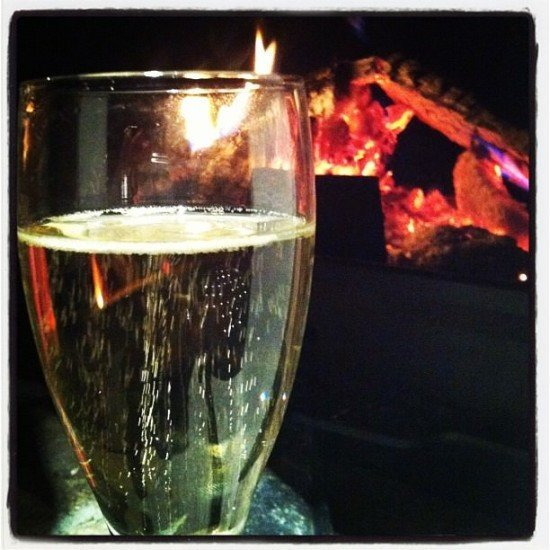 Champagne and a log fire - good enough for Mrs O