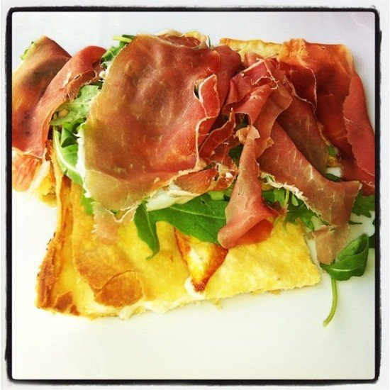 My absolute favourite focaccia - cheese, parma ham and rocket. This is foodie heaven