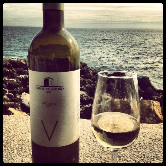 A glass of white wine with a view