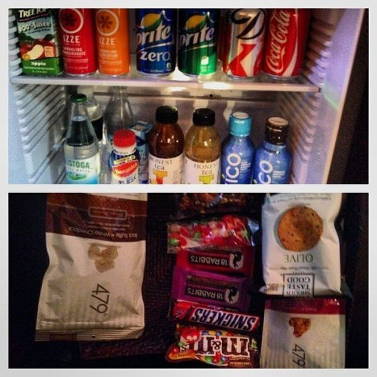 A very well stocked complimentary mini-bar