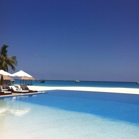 A pool with a view at Velassaru