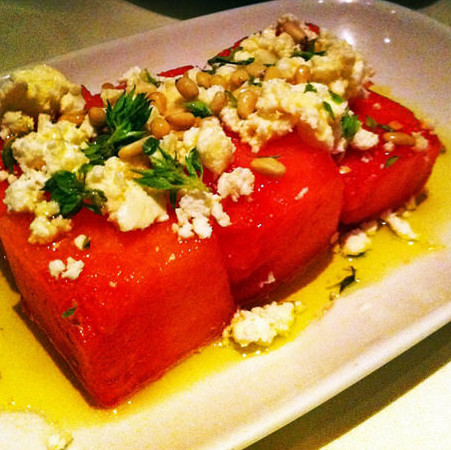 Watermelon, feta and pine nuts salad at Kokkari Estiatorio in San Francisco