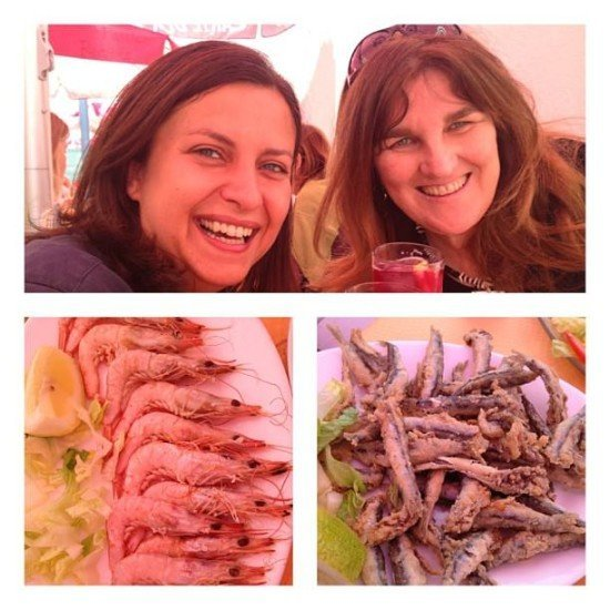 Finally meeting the lovely Michelle Chaplow over some gambas and boquerones!